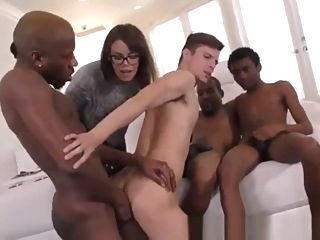 wife enjoys watching her husband fucked by three black men 9:50 2019-03-24