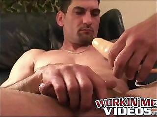 Rugged stud jerks off vigorously with toy in his tight ass toys analplay interview