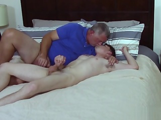 Straight Teen Seduced By Daddy And Likes It In Fake Porn Casting Session brunette couple cumshot