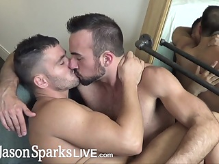 JasonSparksLive - Straight first time jock gets monster cock bareback cum inside gay amateur gay bareback gay big cock